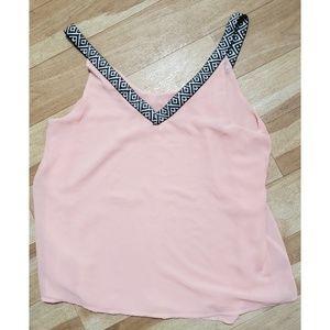Naked Zebra Pink Sheer Sleeveless Tank Blouse Med